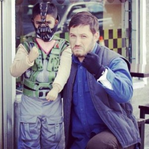 tom hardy with little boy fan dressed as bane