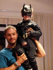 tom hardy with his son dressed as batman